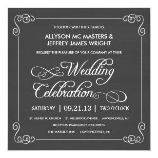 Stylish Chalkboard Wedding 13 Cm X 13 Cm Square Invitation Card
