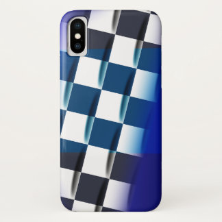 Stylish Checkered on Blue Background iPhone X Case