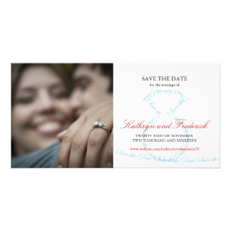 Stylish Chic Engagement Diamond Ring Save The Date Customized Photo Card