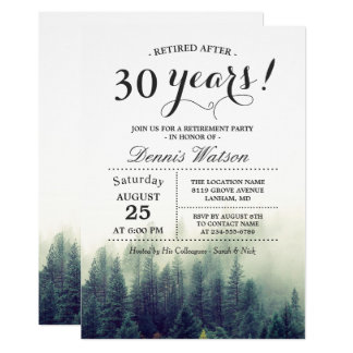 Stylish Chic Forest Pine Trees Retirement Party 13 Cm X 18 Cm Invitation Card
