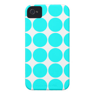 Stylish Chic Gifts for Her : Cyan Polka Dots iPhone 4 Covers