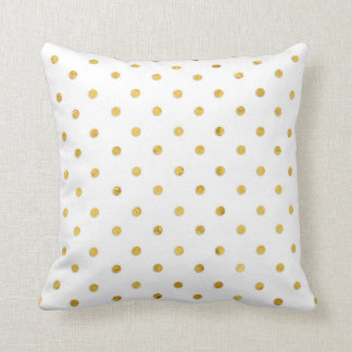 Stylish Chic Girly Gold Polka Dots Cushion