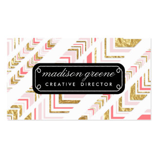 Stylish Chic Pink & Gold Tribal Pattern Custom Business Card Templates