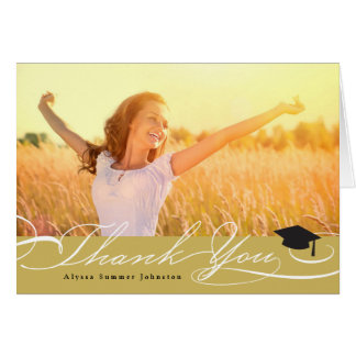 Stylish Chic Script Graduation Thank You Photo Note Card
