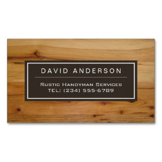 Stylish Chic Wood Grain Woodgrain Look Magnetic Business Cards