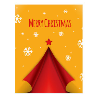 Stylish Christmas design in red and yellow Postcard