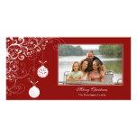 Stylish Christmas ornament swirls photocard Customised Photo Card