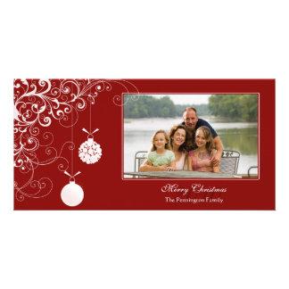 Stylish Christmas ornament swirls photocard Photo Card