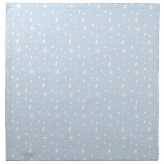 Stylish Christmas Stars Pattern Baby Blue White Napkin