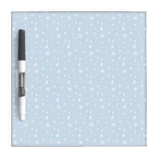 Stylish Christmas Stars Pattern Baby Blue White Dry Erase Board