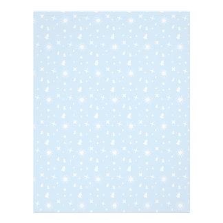 Stylish Christmas Stars Pattern Baby Blue White Full Color Flyer
