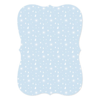Stylish Christmas Stars Pattern Baby Blue White Customized Invitation Cards