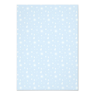 Stylish Christmas Stars Pattern Baby Blue White Personalized Announcements
