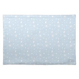 Stylish Christmas Stars Pattern Baby Blue White Cloth Place Mat