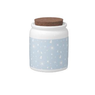 Stylish Christmas Stars Pattern Baby Blue White Candy Jars
