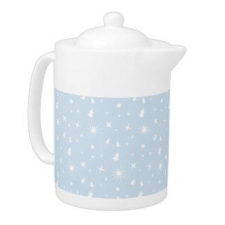 Stylish Christmas Stars Pattern Baby Blue White