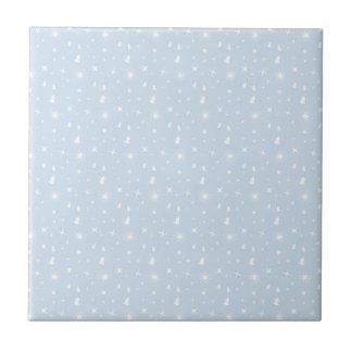 Stylish Christmas Stars Pattern Baby Blue White Ceramic Tile
