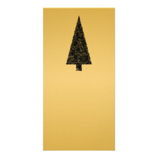 Stylish Christmas Tree. Black and Gold. Card