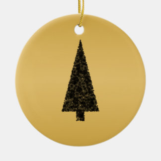 Stylish Christmas Tree. Black and Gold. Christmas Ornament
