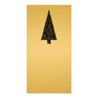 Stylish Christmas Tree. Black and Gold. Photo Greeting Card