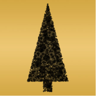 Stylish Christmas Tree. Black and Gold. Photo Sculpture Badge