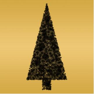 Stylish Christmas Tree. Black and Gold. Photo Cutout