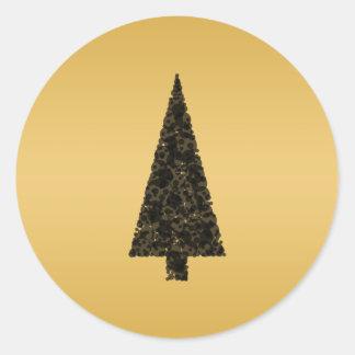 Stylish Christmas Tree. Black and Gold. Round Sticker