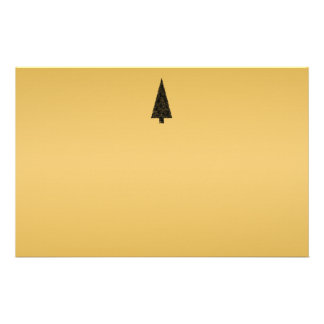 Stylish Christmas Tree. Black and Gold. Stationery