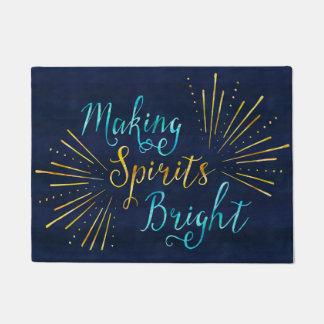 Stylish Christmas Typography Making Spirits Bright Doormat