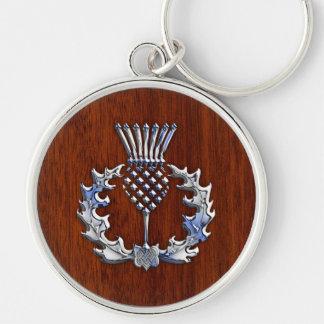Stylish Chrome and Mahogany Wood Scottish Thistle Silver-Colored Round Key Ring