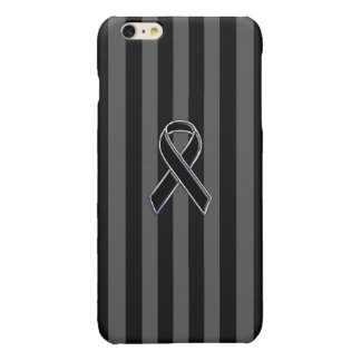 Stylish Chrome Black Ribbon Awareness iPhone 6 Plus Case