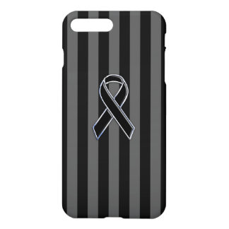 Stylish Chrome Black Ribbon Awareness iPhone 7 Plus Case
