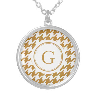 Stylish Classic gold houndstooth with monogram Silver Plated Necklace