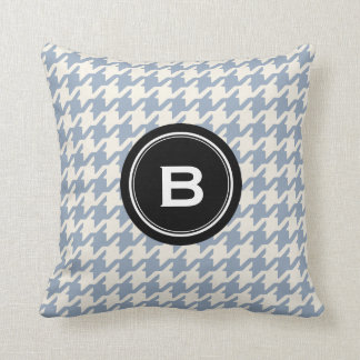 Stylish Classic grey houndstooth black monogram Cushion