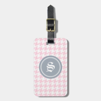 Stylish classic pink houndstooth with monogram luggage tag
