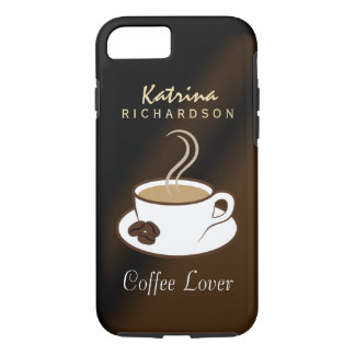 Stylish Coffee Lover Steaming Cup and Beans Tough iPhone 8/7 Case