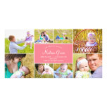 Stylish Collage Birth Announcement - Pink