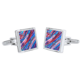 Stylish Colorful Abstract Watercolor Cuff Links Silver Finish Cufflinks