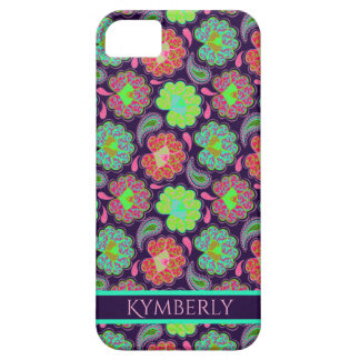 Stylish Colorful Paisley with Personalized Name Barely There iPhone 5 Case