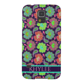 Stylish Colorful Paisley with Personalized Name Galaxy S5 Cover