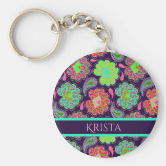 Stylish Colorful Paisley with Personalized Name Key Ring