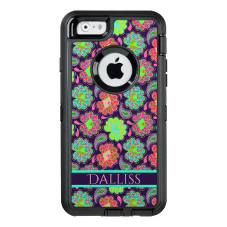 Stylish Colorful Paisley with Personalized Name OtterBox Defender iPhone Case
