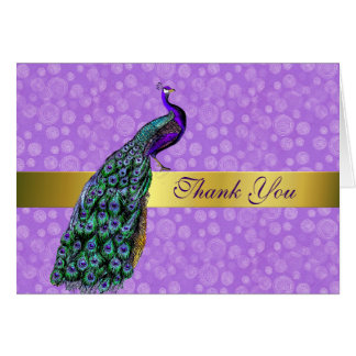 Stylish Colorful Peacock Thank You Card
