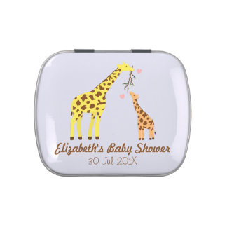 Stylish Colourful Giraffe Baby Shower Party Favors Jelly Belly Tins
