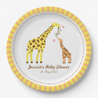 Stylish Colourful Giraffe Calf Baby Shower Party 9 Inch Paper Plate