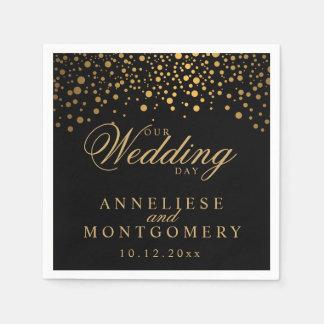 Stylish Confetti Gold Dots on Black - Wedding Day Disposable Napkin