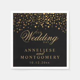 Stylish Confetti Gold Dots on Black - Wedding Day Paper Serviettes