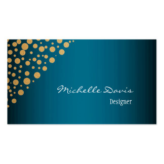 Stylish Confetti Gold Dots Pattern Blue Pack Of Standard Business Cards