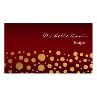 Stylish Confetti Gold Dots Pattern Red Pack Of Standard Business Cards