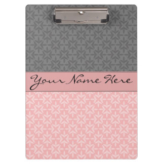 Stylish Contemporary Geometric Pink and Gray Clipboard